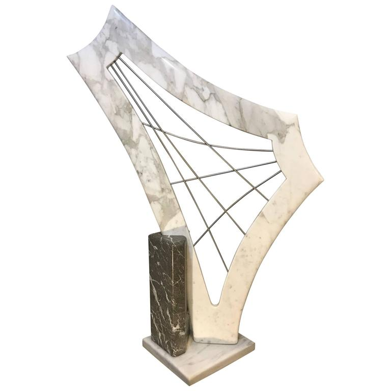 Modern Abstract Marble Harp Form Sculpture
