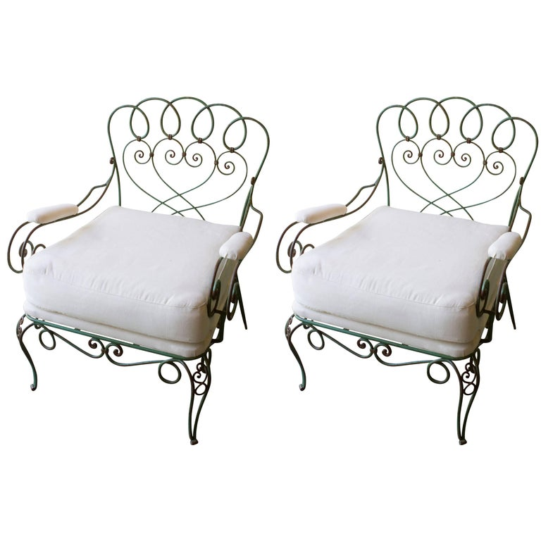 Pair of 1940s French Garden Chairs For Sale