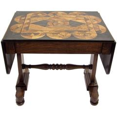 English Wood Inlay Regency Drop-Leaf Side Table/ Writing Table