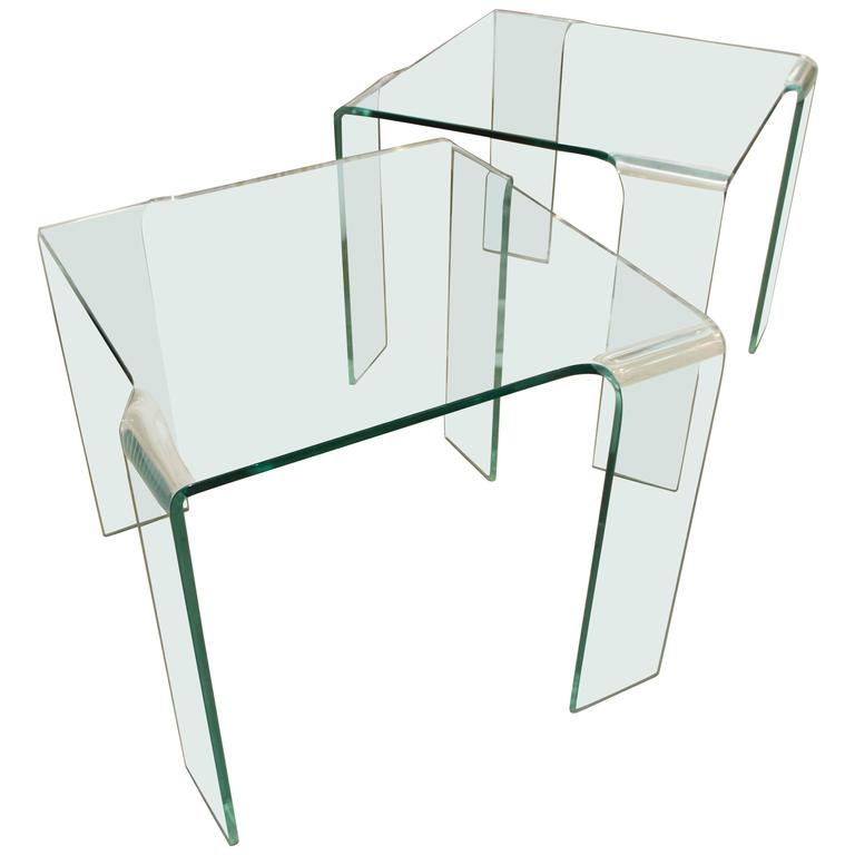 Pair of Italian Table Attributed to Fiam, circa 1980s
