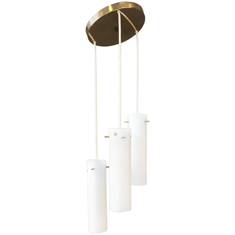 Hadeland Triple Pendant Glass and Brass Light Fixture