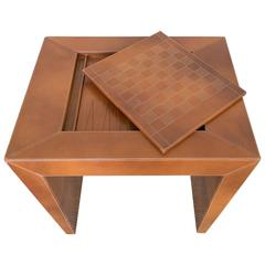 Chess/Backgammon/Checkers Game Table, 1970s Stitched Leather