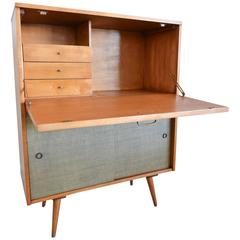 Paul McCobb Secretary Desk with Grasscloth Doors, circa 1955