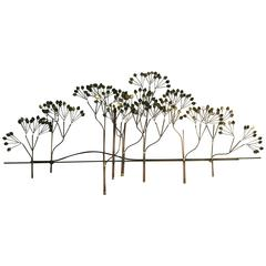 Beautiful Brass Wall Sculpture of Trees with Shimmering Leaves by Curtis Jere
