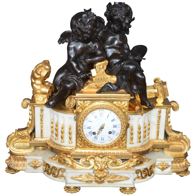19th Century Large Impressive French Dior Bronze and White Marble Clock For Sale