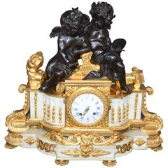 19th Century Large Impressive French Dior Bronze and White Marble Clock