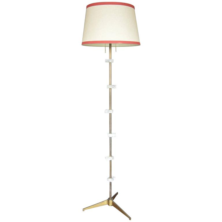 American Brass and Metal Floor Lamp with Square Rock Crystal