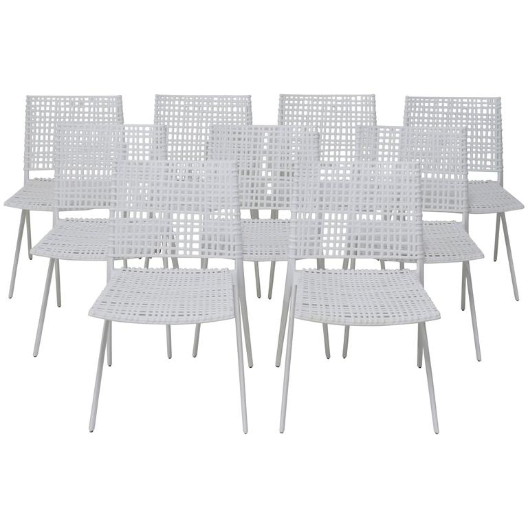 Set Of 9 Janus Et Cie Branch Patio Dining Chairs In White Powder Coated  Aluminum 1