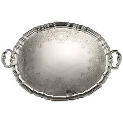 19th Century Victorian Solid Silver Large Tray, Robert Garrard, circa 1845