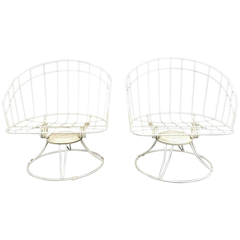 Pair of Mid-Century Modern Iron Tilt Swivel Barrel Garden Chairs, Homecrest