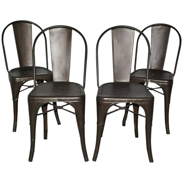 Four Tolix Style Industrial Metal Bistro Chairs For Sale