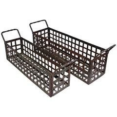 Pair of Vintage Wrought-Iron Open-Weave Basket Planters