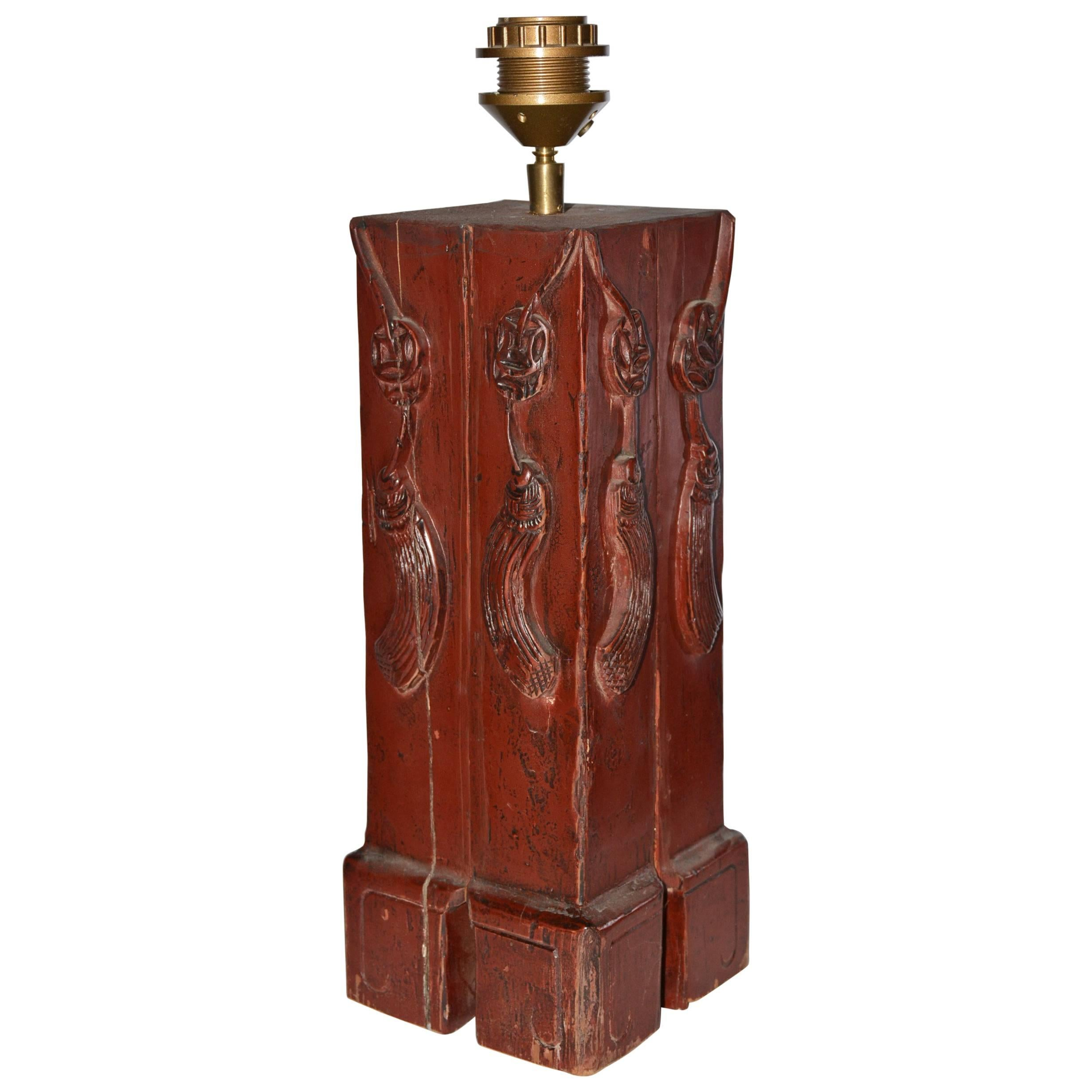 Antique Chinese Painted Wood Lamp Base For Sale