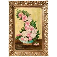 20th Century Original Oil On Canvas Still Life Flower Painting By Clara McKinney