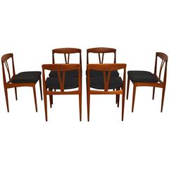 Set of Six Danish Teak Retro Dining Chairs, Vintage, 1960s