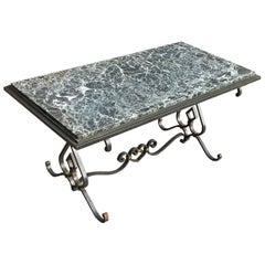 Great Shape Mid-Century Vintage Wrought Iron Coffee Table with Green Marble Top