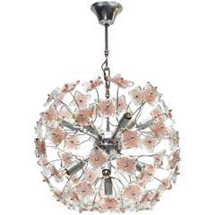Mid-Century Italian Glass Sputnik Chandelier in Fontana Arte Style