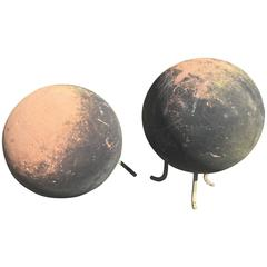 Pair of Huge English Carved Sandstone Balls on Bronze Feet