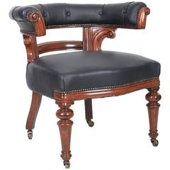 Victorian Mahogany and Leather Captains Desk Chair