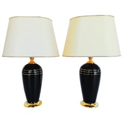 Pair of Mid-Century Metal and Brass Table Lamps, circa 1970
