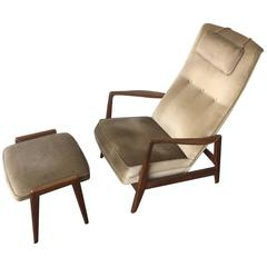 Elegant No. 829 Armchair and Stool by Gio Ponti for Cassina