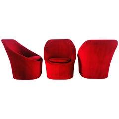 Set of Three Ruby Velvet Lounge Chairs, circa 1970