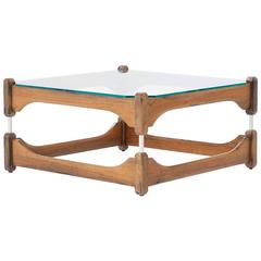 Italian Mid-Century Modern Wood and Glass Low Coffee Table 1960s