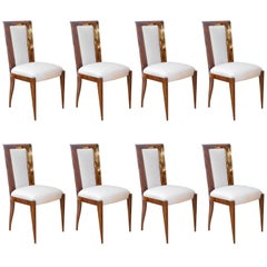 Suite of Eight French Art Deco Dining Chairs, circa 1940s