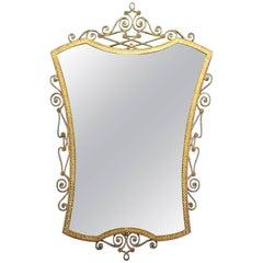 Midcentury Brass Mirror by Pier Luigi Colli, Italy, 1940s