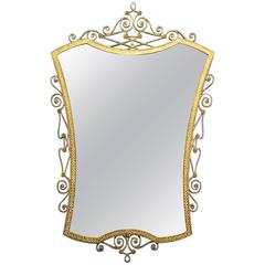 Midcentury Brass Mirror by Pier Luigi Colli, Italy, 1940s