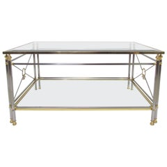 Hollywood Regency Maison Jansen Style Italian Mixed Metal Coffee Table
