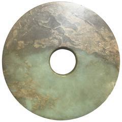 Important Ancient Chinese Jade Bi Superb Moutainous Pattern, 2200-1700 BCE