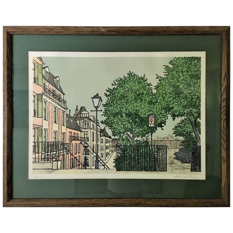 Parisian Street Scene Lithograph Signed By Denis Paul