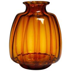 Large Brilliant Orange Signed Leerdam Copier Vase