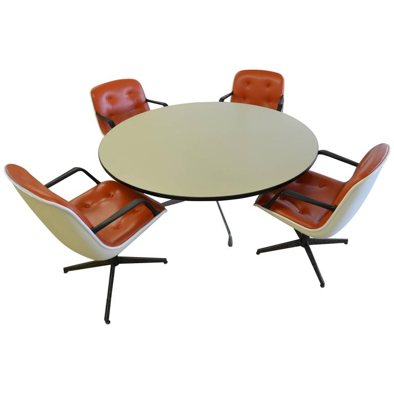 Herman miller mid century dining table with four steelcase