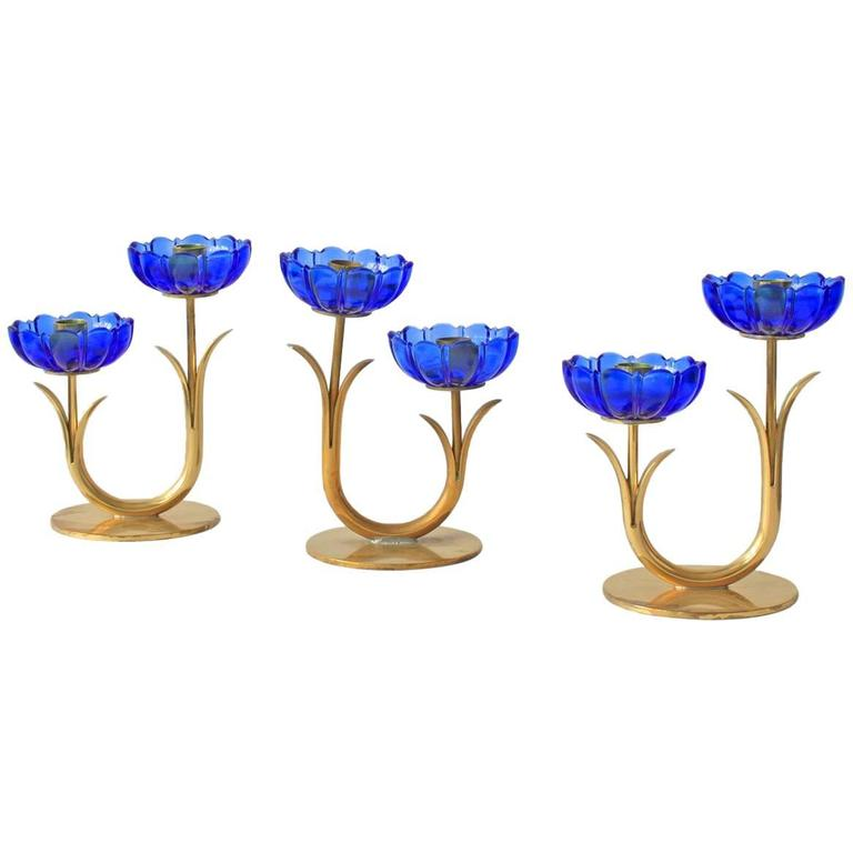 Delicate Gunnar Ander Flower Candleholders For Sale