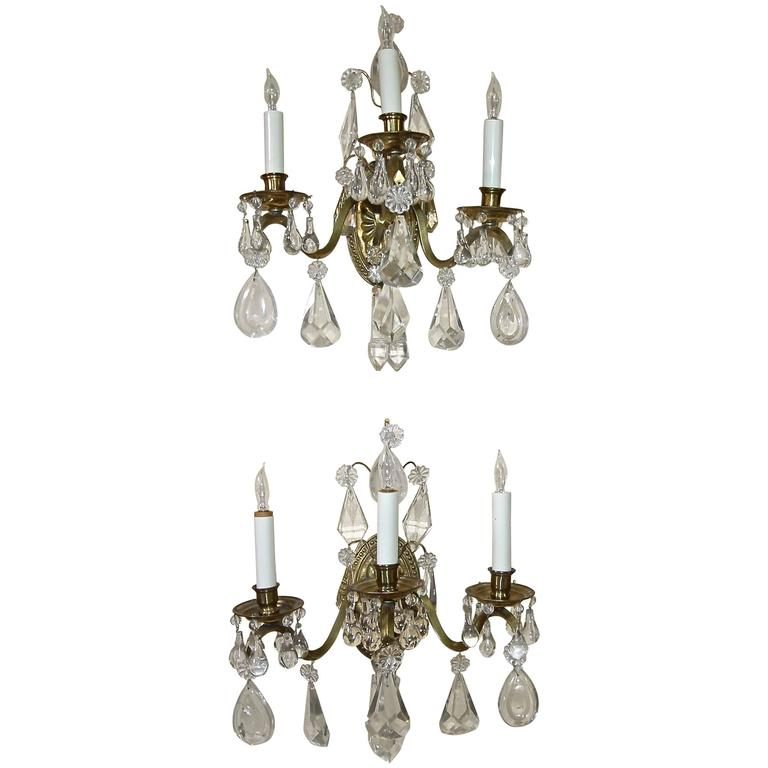 Pair of French Rock Crystal Brass Wall Sconces For Sale at 1stdibs