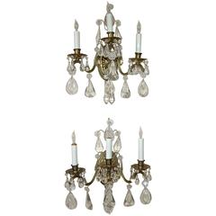 Pair of French Rock Crystal Brass Wall Sconces