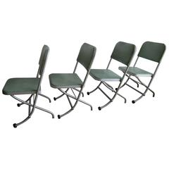 Warren Macarthur Mid-Century Folding Chairs '4' with Mint Green Vinyl Upholstery