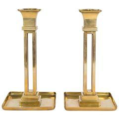 Pair of Aesthetic Period Brass Candleholders