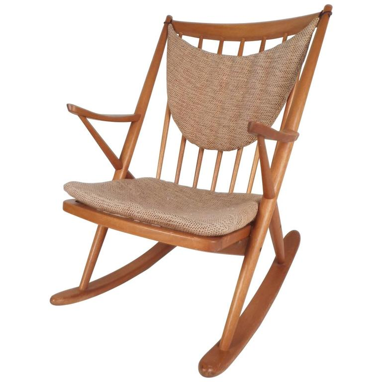 canadian mid century modern folding rocking chair in blonde wood and