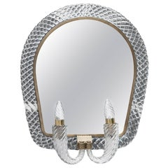 Huge Carlo Scarpa Trecia Venini Wall Mirror with Two Lights Signed