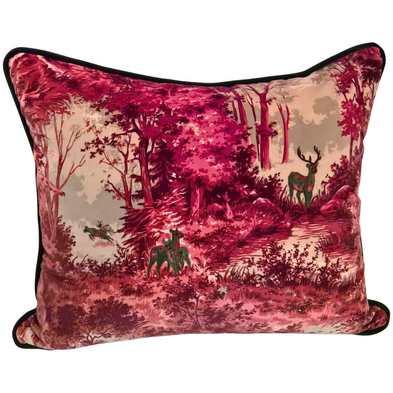 Black Forest Cushion in Red Velvet Hand Embroidered Sofina Boutique Kitzbuehel For Sale