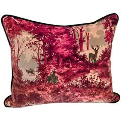 Black Forest Handmade Cushion in Red Velvet Hand Embroidered with Hunting Scene
