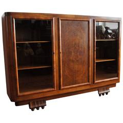 Striking 1930s Art Deco Nutwood and Macassar Ebony Bookcase and Display Cabinet