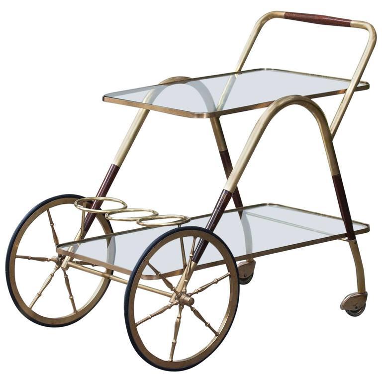 Cesare Lacca Golden Wood Bar Serving Cart