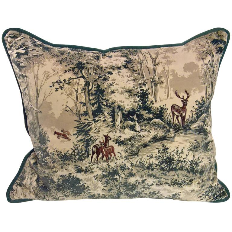 Black Forest Cushion in Blue Velvet with Hand Embroidered Hunting Scene For Sale
