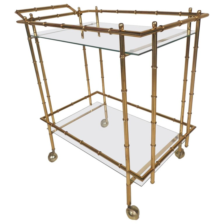 Mid-Century Modern Hollywood Regency Style Brass Faux Bamboo Bar Cart For Sale