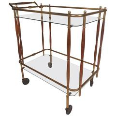 Unique Mid-Century Modern Brass and Wood Rolling Bar Cart