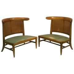 outstanding pair of cane barrel back slipper chairs in the manner of parzinger - Slipper Chairs